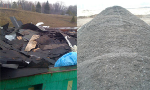 Shingles before and after grinding